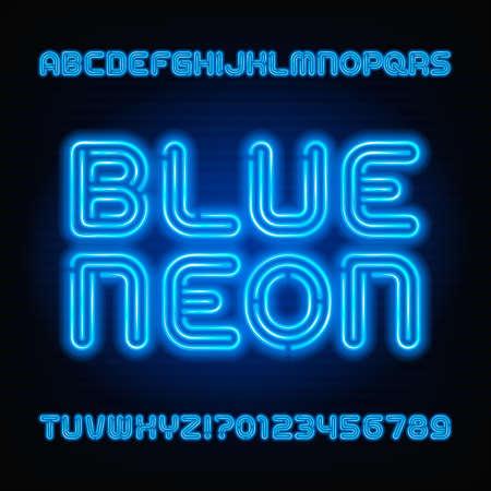 Blauwe neon buis alfabet lettertype. Neon kleur letters en cijfers. Voorraad vector lettertype voor uw headers of een typografieontwerp.