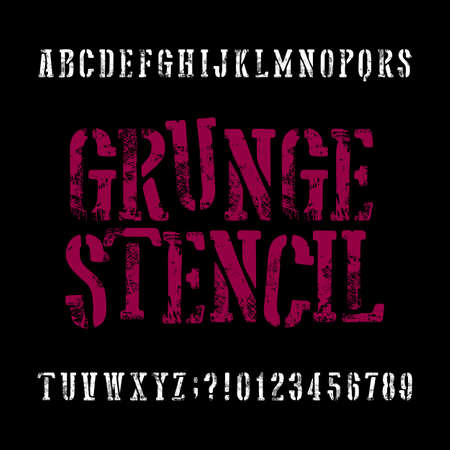 Grunge stencil typeface. Retro alphabet font. Scratched letters and numbers on a black background. Stock vector vintage typeset for your headers or any typography design.
