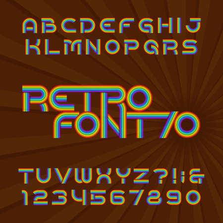 Fuente de alfabeto de rayas retro. Funky escribe letras y números en el estilo de los años 70. Tipo de letra del vector para sus encabezados o cualquier diseño de tipografía. Foto de archivo - 87603705