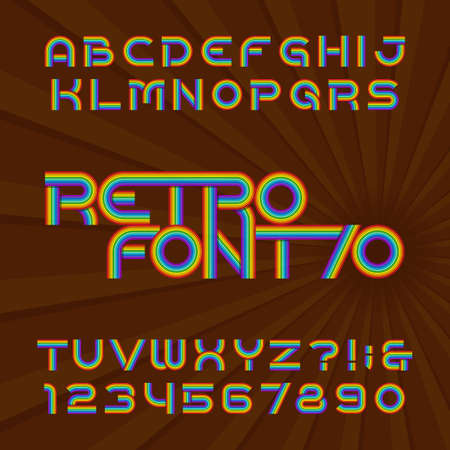 Retro stripe alphabet font. Funky type letters and numbers in 70s style. Vector typeface for your headers or any typography design.
