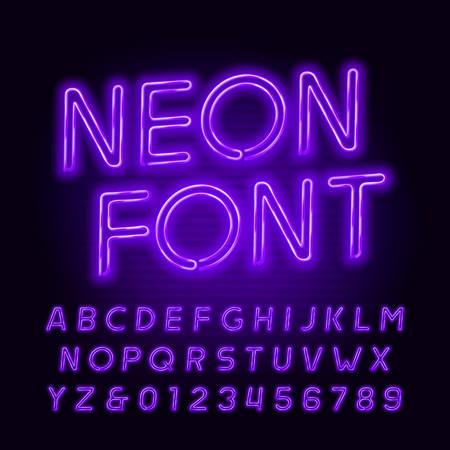 Paarse neon buis alfabet lettertype. Neon kleur schuine letters en cijfers. Voorraad vector lettertype voor uw headers of een typografieontwerp. Stock Illustratie