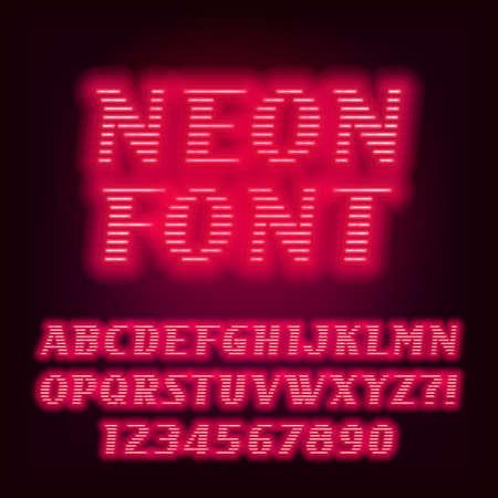 Rode neon buis alfabet lettertype. Neon kleur schuine letters en cijfers. Voorraad vector gezet voor uw headers of een ontwerp voor typografie.