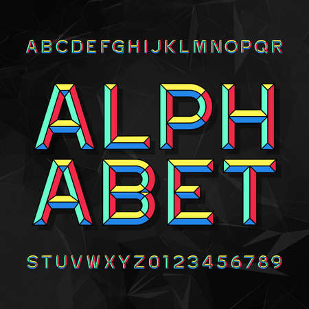 Kleurrijke beitel alfabet Vector lettertype. Typ letters en cijfers. Donkere veelhoekige achtergrond. Geblokt blok lettertype voor uw ontwerp.