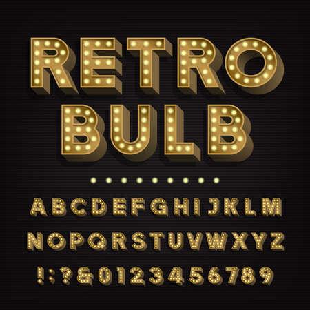 Retro teken alfabet. 3D vintage gloeilamp type letters en cijfers. Uithangbord lettertype. Voorraad vector lettertype voor uw headers en elk ontwerp van de typografie. Stock Illustratie