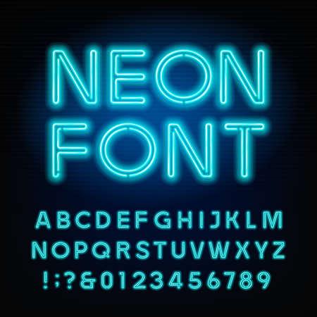 Blauwe neon buis alfabet lettertype. Neon kleur letters en cijfers. Voorraad vector gezet voor uw headers of een ontwerp voor typografie.