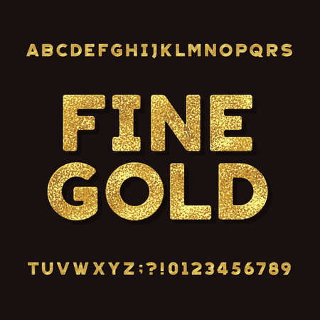 Gold Alphabet Font. Metallic effect shiny letters and numbers. Stock vector typeface for your headers and any typography design.