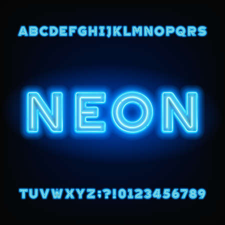 Neon tube alphabet font. White and blue color bold letters and numbers. Stock vector typeset for your headers or any typography design. Stock Illustratie