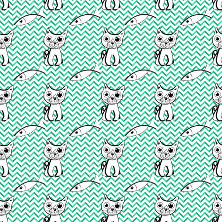 Vector seamless pattern with doodle cat and fish. Geometric background