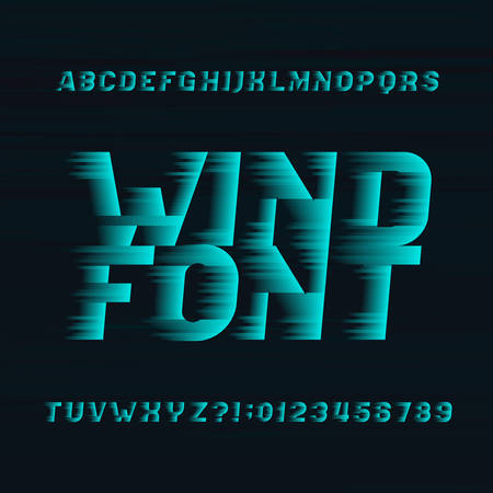 Wind alphabet vector font. Speed ??effect type letters and numbers on a dark background. Stock vector typeset for your headers or any typography design. Çizim