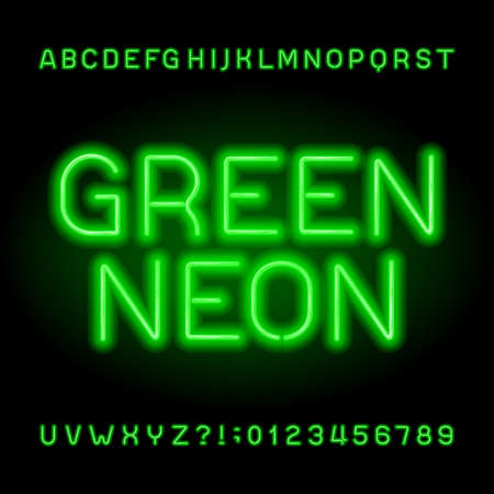 Neon tube alphabet font. Green color letters and numbers. Stock vector typeface for your headers or any typography design.