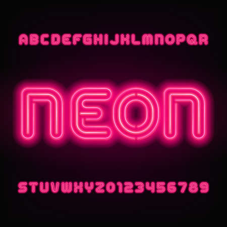 Neon tube alphabet font. Red color letters and numbers. Stock vector typeface for your headers or any typography design.