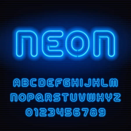 Neon tube alphabet font. Blue color letters and numbers. Stock vector typeface for your headers or any typography design.