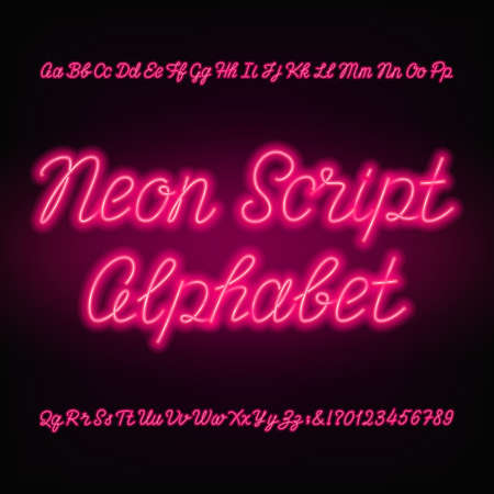 ネオンスクリプトアルファベットフォント。