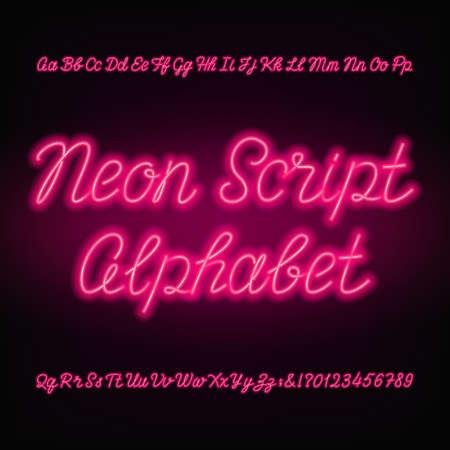 Neon script alfabet lettertype. Stock Illustratie