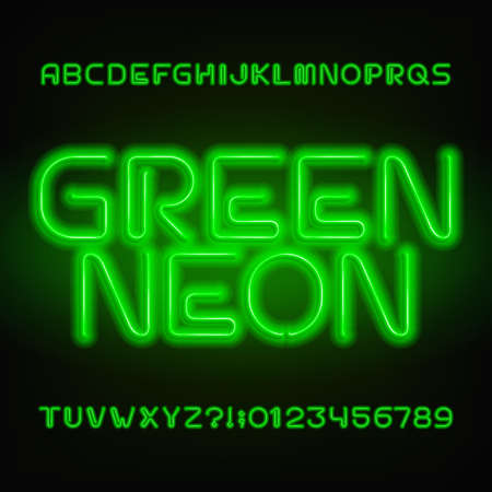 Green neon tube alphabet font. Neon color letters and numbers. Stock vector typeset for your headers or any typography design.