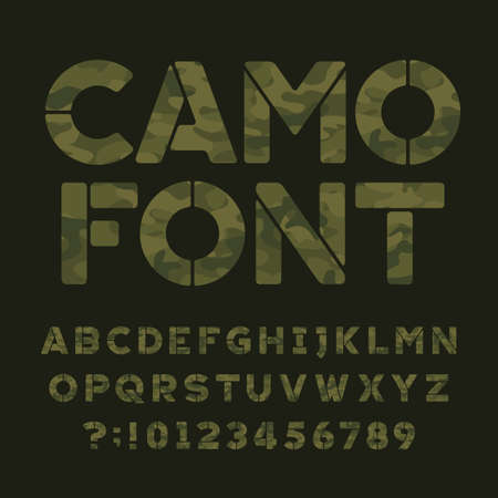 Camoflauge design alphabet font, type letters and numbers on a dark green illustration. Иллюстрация