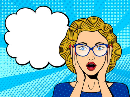 Pop art surprised female face with open mouth. Comic blonde woman in glasses with speech bubble.