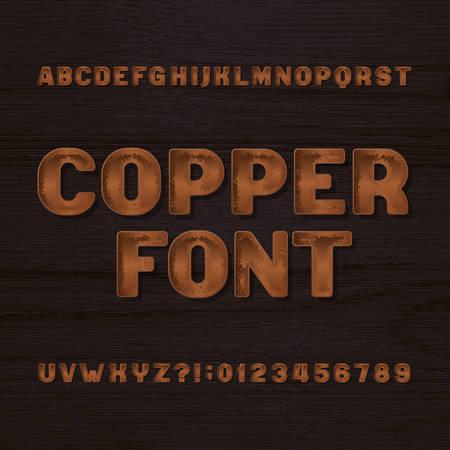 Caractère en métal de cuivre. Police de l'alphabet rétro. Lettres et chiffres métalliques sur un fond sombre et rugueux. Stock vintage vintage composé pour vos en-têtes ou n'importe quelle conception de typographie.
