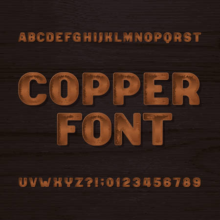 Copper metal typeface. Retro alphabet font. Metallic letters and numbers on a dark rough background. Stock vector vintage typeset for your headers or any typography design.