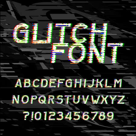 Glitch alphabet font. Type letters and numbers on a glitched background. Vector typeface for your headers or any typography design. Vectores