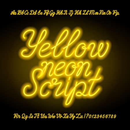 Yellow neon script alphabet font. Handwriting neon uppercase and lowercase letters and numbers, hand drawn vector typeface for your headers or any typography design.