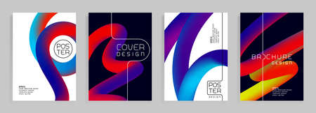 Futuristic poster templates. Abstract vector background with colorful shapes. Cover, brochure trendy design. Çizim