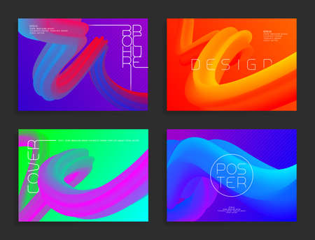 Modern poster templates. Abstract vector bright backgrounds with colorful liquid shapes. Cover, brochure, flyer futuristic design.