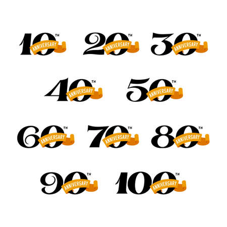 Set of anniversary signs from 10 to 100. Numbers on a white background. Stock Vector signs design elements.