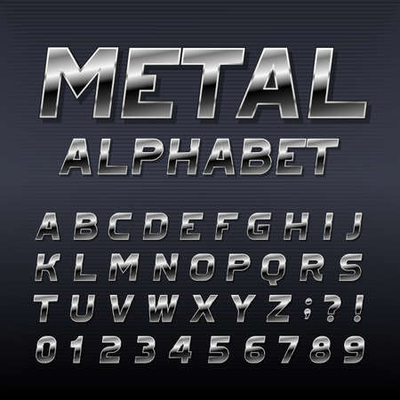 Metal effect alphabet font. Steel numbers, symbols and letters. Stock vector typeset for any typography design.