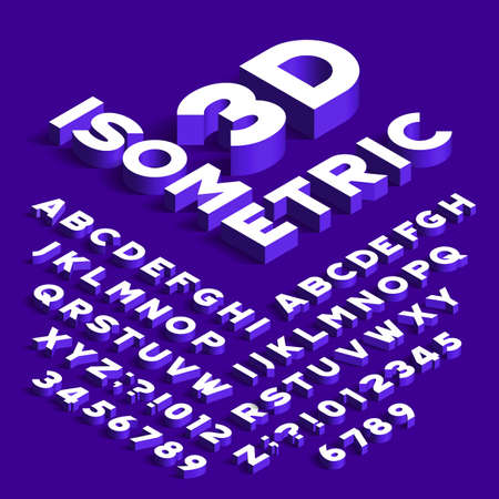 Isometric alphabet font. 3d effect letters, numbers and symbols with shadows. Stock vector typeface for any typography design. Vectores