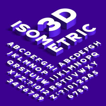 Izometryczna czcionka alfabetu. Litery efekt 3D, cyfry i symbole z cieniami. Krój czcionki wektorowej dla każdego projektu typografii.