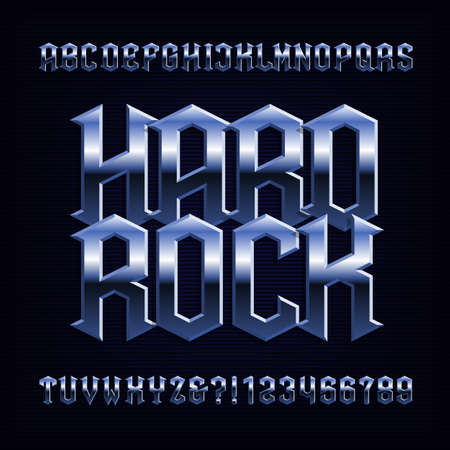 Hard rock word and alphabet with Metal effect font