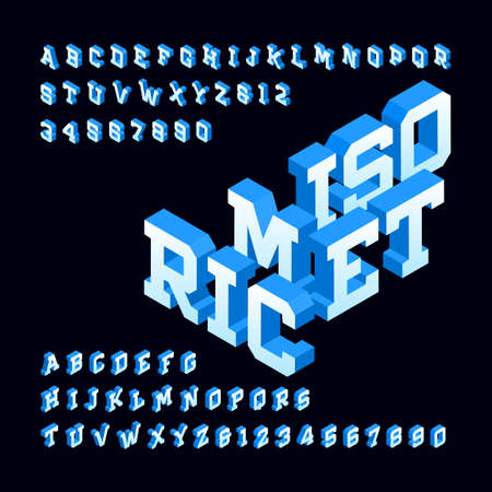 Isometric alphabet font. 3d effect letters and numbers. Stock vector typeface for your design.