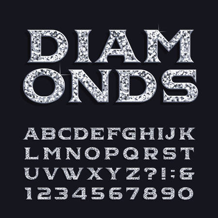 Diamond alphabet font. Luxury beveled serif letters and numbers. Stock vector typeface for any typography design.