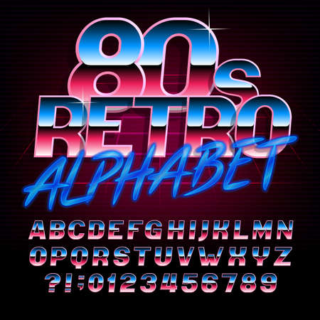 80s retro alphabet font. Metallic effect bright type letters and numbers. Stock vector typeface for any typography design.