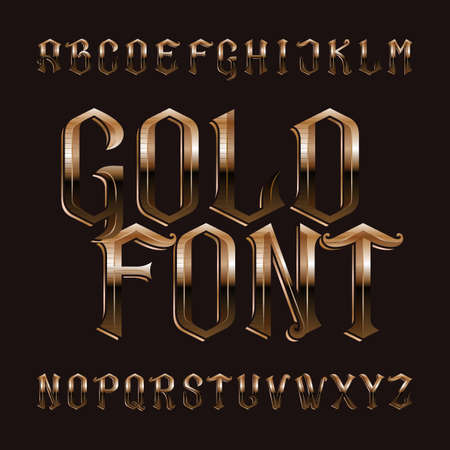 Gold alphabet font. Vintage ornate golden letters. Stock vector typeface for your design.