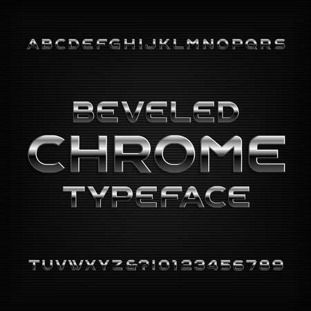 Chrome effect alphabet font. Metal beveled letters numbers and symbols. Stock vector typeface for any typography design. Stok Fotoğraf - 97839247