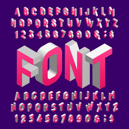 Isometric alphabet font. Three-dimensional effect letters and numbers. Stock vector typography for your design.