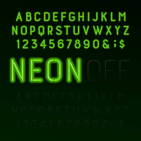 Green neon tube alphabet font. Neon color letters, numbers and symbols. Switched on and switched off. Stock vector typeface for any typography design.