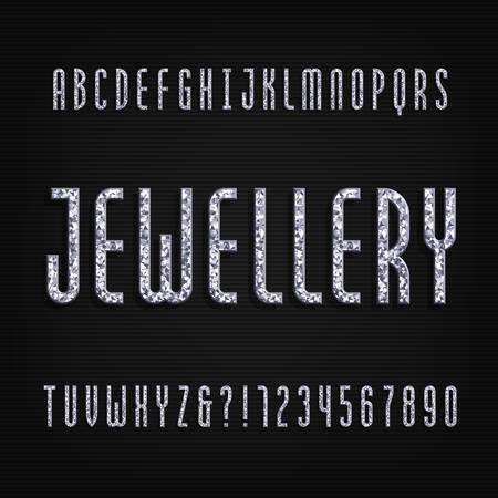 Diamond crystal alphabet font design with the word jewellery. Ilustrace