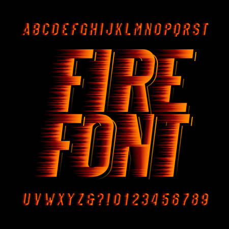 Fire alphabet font speed effect type letters and numbers on black background. Stock vector typeset. Illustration