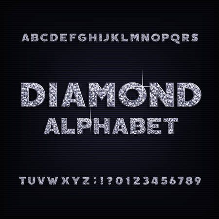 Diamond crystal alphabet bold font. Luxury jewellery letters and numbers. Stock vector typeface. Stok Fotoğraf - 99823124