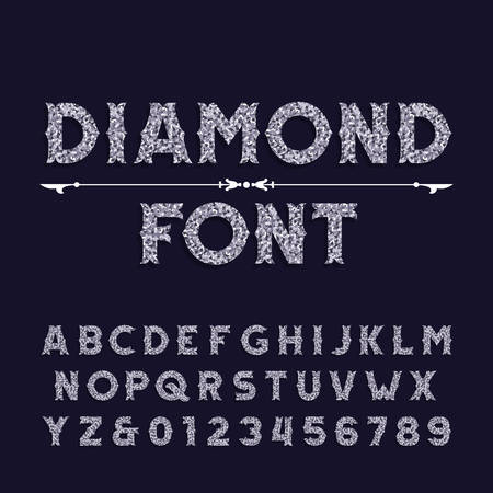 Diamond crystal alphabet font. Ornate jewelry letters and numbers. Stock vector typography.