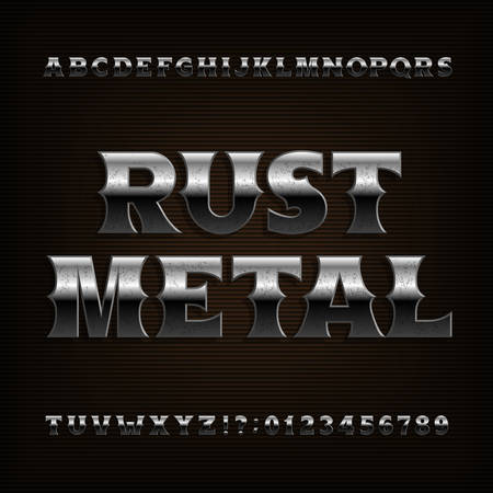 Rust metal alphabet font. Vintage bold letters and numbers. Stock vector typeface for your design.