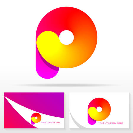 Letter P logo icon design template elements. Business card templates.