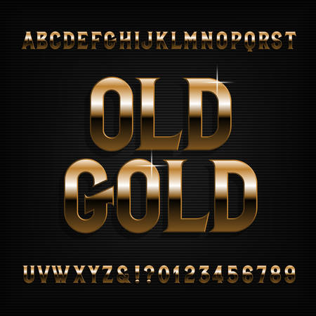 Golden alphabet font. Beveled vintage letters, symbols and numbers. Stock vector typography for typography design. Ilustração