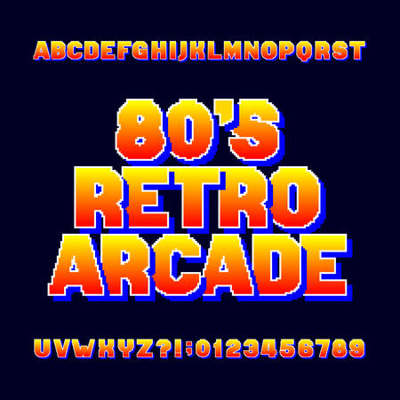 Pixel retro alphabet font. Video computer game letters and numbers. 80's arcade game typeface