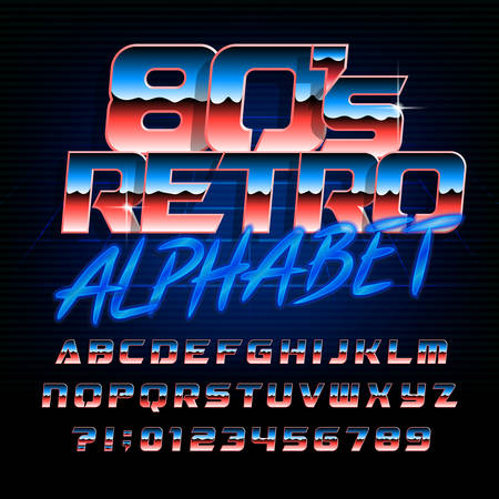 80s retro alphabet font. Metallic effect bright letters and numbers. Stock vector typeface.