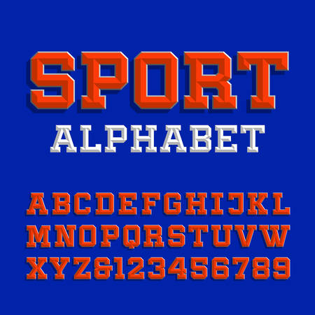 Beveled alphabet vector font. Retro sport style typeface for your design. Type letters and numbers. Illustration