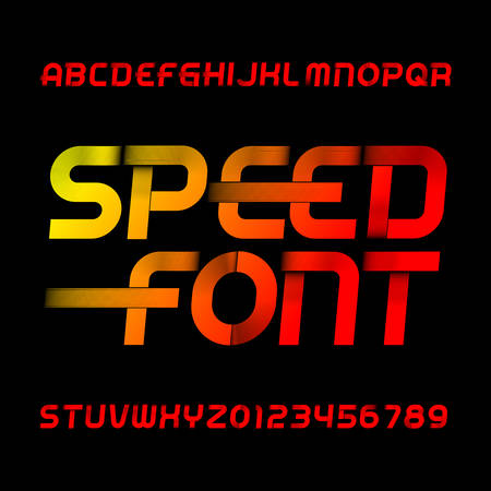 Speed alphabet font. Wind effect type letters and numbers on black background. Stock vector typeset. Illustration